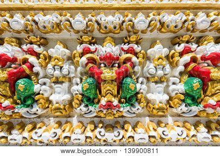 Colorful Garuda On Temple Wall