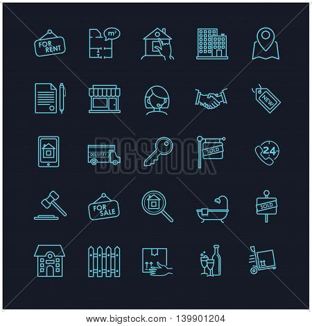 real estate icons on a black background for your design