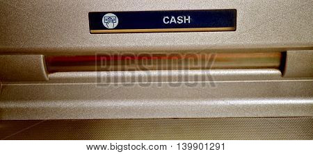 Used Bank ATM banknote place close up