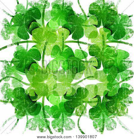 grunge leaf clover on a white background