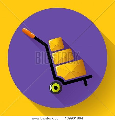 Warehouse Trolley flat 2.0 long shadow vector icon