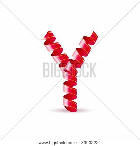 Letter Y made of red surled shiny ribbon