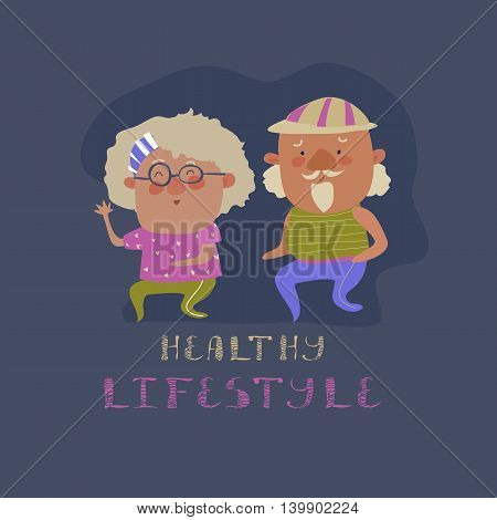 Old couple man and woman running. Flat design vector