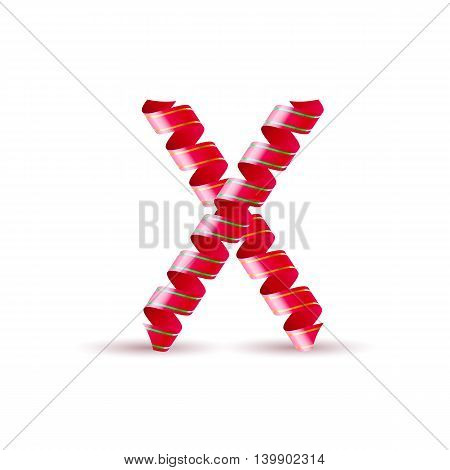 Letter X made of red curled shiny ribbon