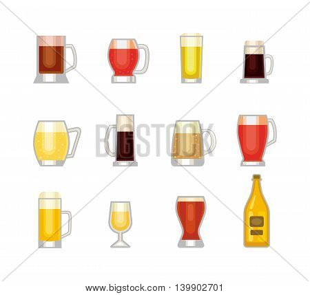 Beer bottle, glass and different types of beer label. Alcohol drinks cups vector icons isolated. Oktoberfest beer light and dark drink vector cups mugs