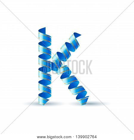 Letter K made of blue curled shiny ribbon