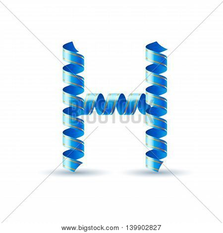 Letter H made of blue curled shiny ribbon