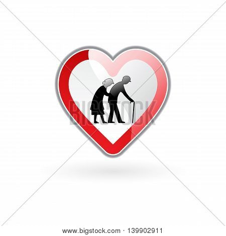 vector illustration of heart in stylistics of road sign expressing elderly care