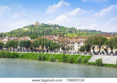 Embankment of river Adige in Verina, Italy