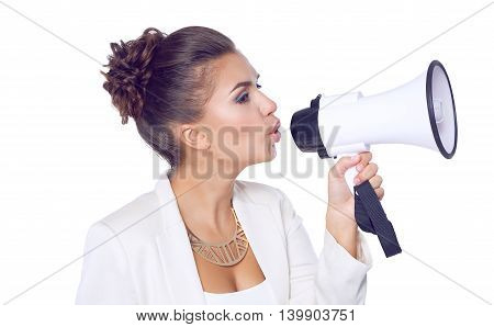 Business woman with megaphone yelling and screaming isolated on white background.