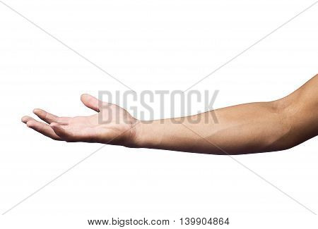 Hand man in hold position on white backgrownd