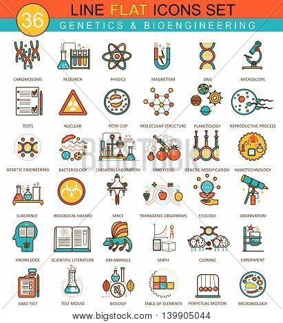 Vector Genetics and biochemistry technology flat line icon set. Modern elegant style design for web