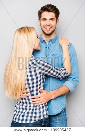 Photo Of Happy Cute Couple In Love Hugs And Smiling