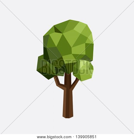 Triangle polygonal tree silhouette. Vector eco illustration. Isolated green tree in a triangular style.