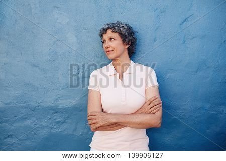 Senior Woman Looking At Copy Space