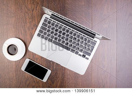 Phone, Coffee And Laptop Computer