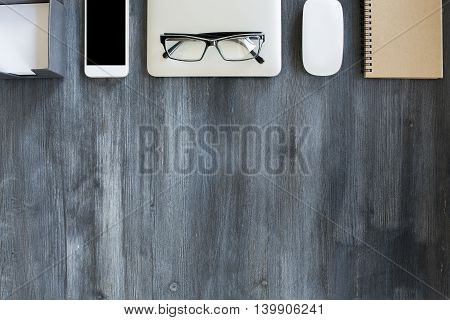 Wooden Desktop With Objects