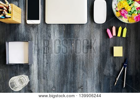 Wooden Desktop With Various Objects