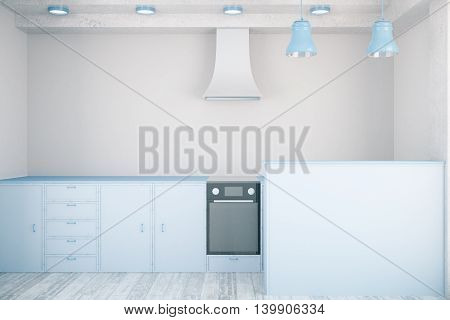 Front view of minimalistic blue kitchen interior. 3D Rendering