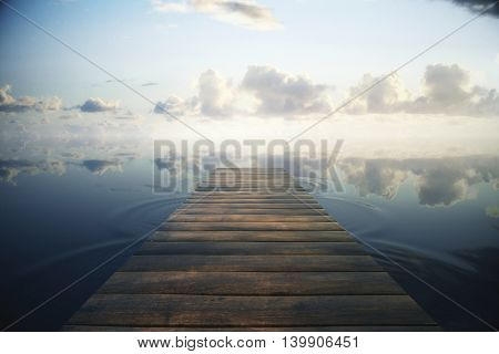 Wooden plank sea pier on beautiful sky background. Toned image 3D Rendering