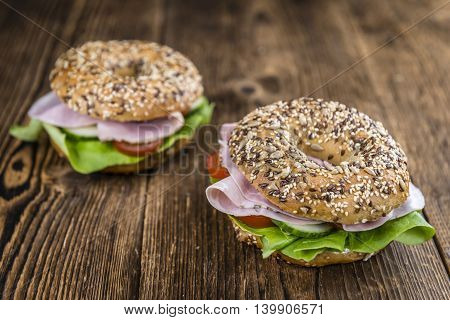 Bagel With Ham (selective Focus)