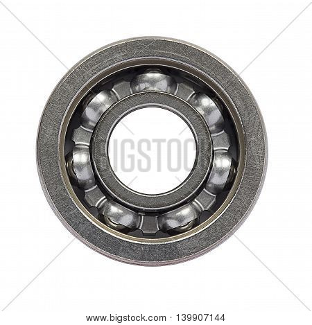 Ball-bearing isolated on white background, front view