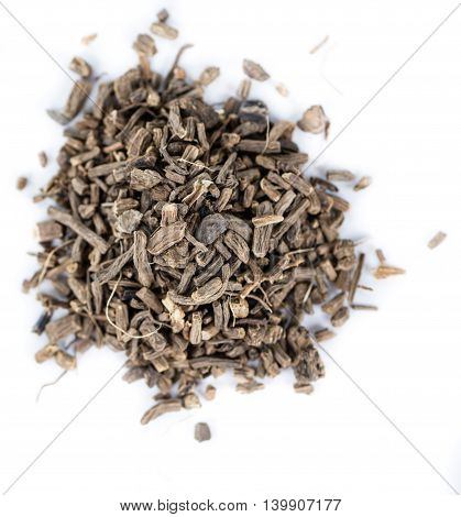 Dried Valerian Roots On White