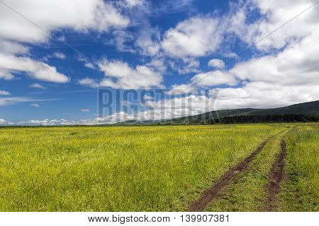 Road lane and sky with clouds . Nature design