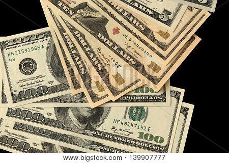 Black background with money American dollar bills