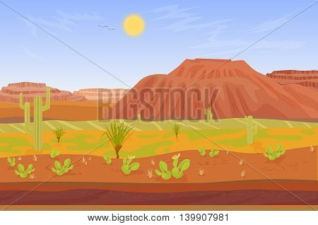 Seamless cartoon prairie desert Grand canyon landscape with rocks, cactuses, mountains and tree
