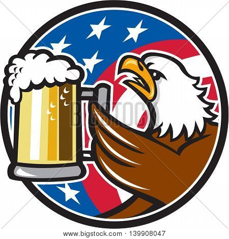 Illustration of an american bald eagle hoisting mug glass of beer stein viewed from the side with usa american stars and stripes flag in the background set inside circle done in retro style.