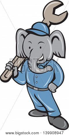 Illustration of an elephant mechanic standing holding spanner on shoulder with one hand on hips viewed from front set on isolated white background done in cartoon style.