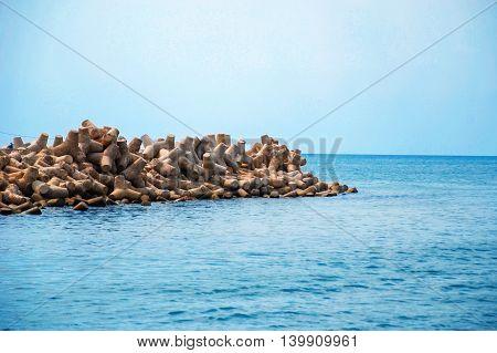 The Phu Quoc sea breakwater, Kieng Giang province, Vietnam