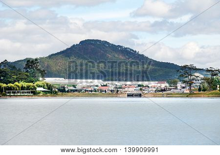 Mountain and lake at Da Lat city, Vietnam