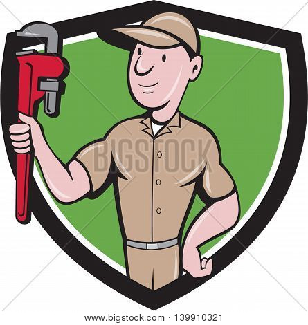 Illustration of a repairman handyman worker wearing hat carrying holding monkey wrench looking to the side viewed from front set inside shield crest done in cartoon style.