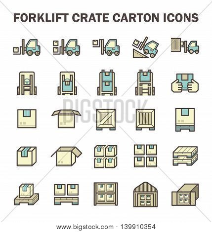 Forklift working with box and warehouse vector icon sets.