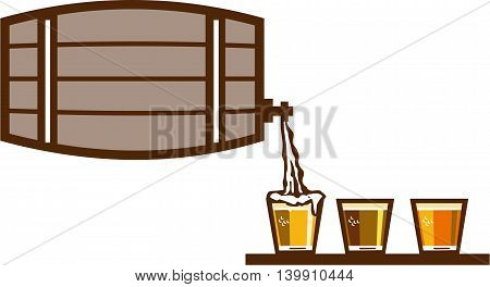 Illustration of beer keg pouring on glass of beer flight beer each holding a different beer type on isolated background done in retro style.