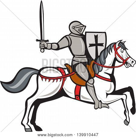 Cartoon style illustration of a knight wearing armor riding on his steed horse holding shield and wielding sword viewed from the side set on isolated white background.