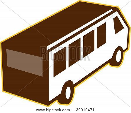 Illustration of a van bus viewed from high angle set on isolated white background done in retro style.