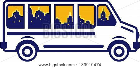 Illustration of a van bus viewed from the side with city skyline buildings set on isolated white background done in retro style.
