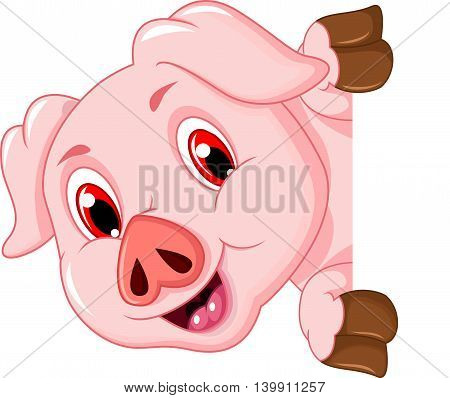 funny pig cartoon holding a blank sign