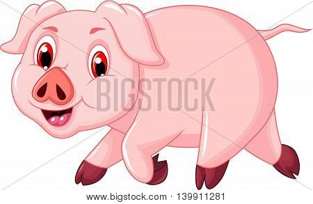 funny pig cartoon walking for you design