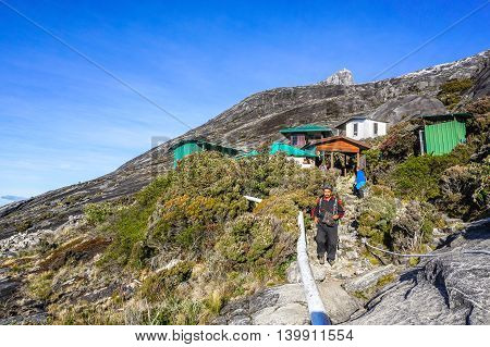 Ranau,Sabah,Malaysia-March 13,2016:Group of climbers arrived at Sayat Sayat check point after successfully completed conquering the mountain Kinabalu.Later,the climbers will continue to Laban Rata.