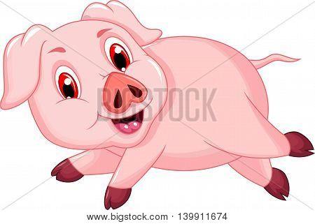 funny pig cartoon running for you design