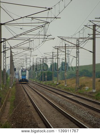 Train comes to station Popice in south Moravia