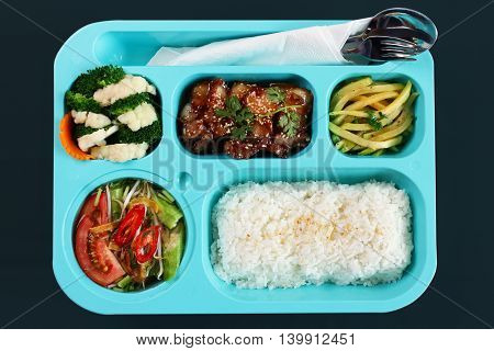 Lunch Box - Meat with chicken fries, Cabbage Salad, Rice.