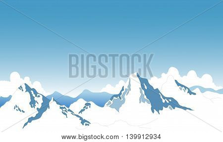 beauty snow mountain with landscape background for you design