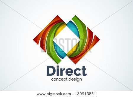 Abstract business company arrow logo template, direct concept - geometric minimal style, created with overlapping curve elements and waves. Corporate identity emblem