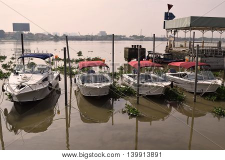 June 20, 2016, ho chi minh city vietnam: motor boat anchor in saigon river