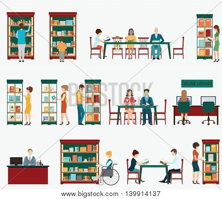 Various character of people in Bookstore or library with bookshelves isolated on white adult and teenager business people and wheel chair of disabled woman vector illustration.